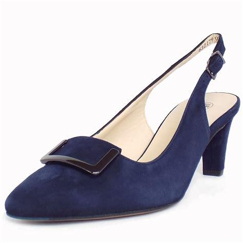 slippers heels kaiser merlina mid heel sling back shoes navy