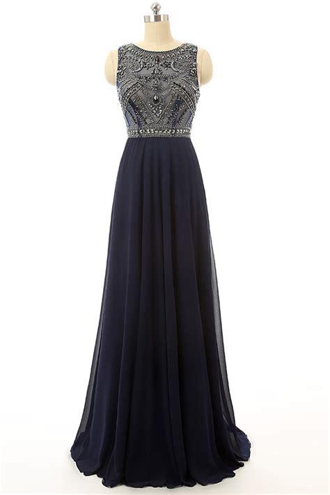 cheap prom dress navy blue beaded graduation dresses