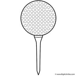 golf ball and tee coloring page sports