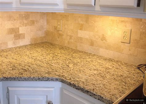 brown subway travertine backsplash tile