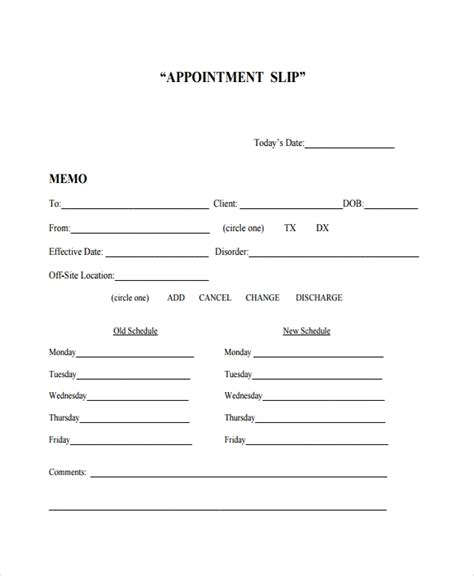 8 Appointment Slip Templates Sle Templates Doctor S Appointment Card Template