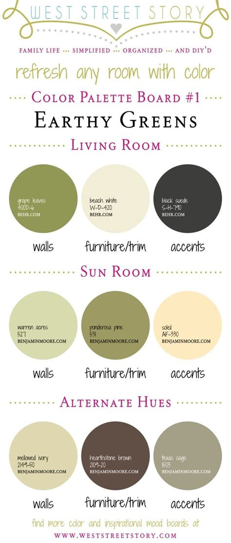 color palette home decor earthy greens color palette board head on over to the blog