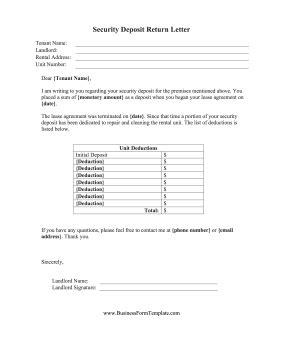 Rent Deposit Refund Letter Security Deposit Return Letter Template