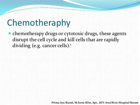 Obat Kemoterapi sisa metabolit obat kemoterapi prima kft 051215
