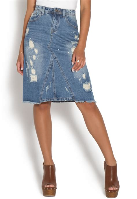Distressed Denim distressed denim skirt shoedazzle