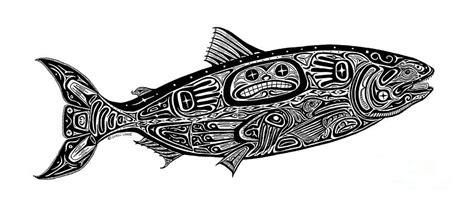tribal salmon drawing by carol lynne