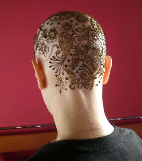 henna on a bald head an intricate henna design applied