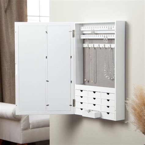 wall mount jewelry armoire canada white wall mount jewelry armoire mirror beautyful jewelry