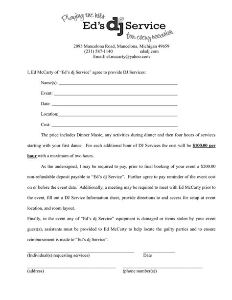 dj services contract in word and pdf formats