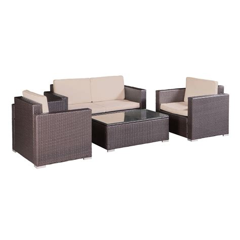 4 Chair Patio Set Palm Springs Outdoor 4 Pc Furniture Wicker Patio Set W Chairs Table Cushions Ebay