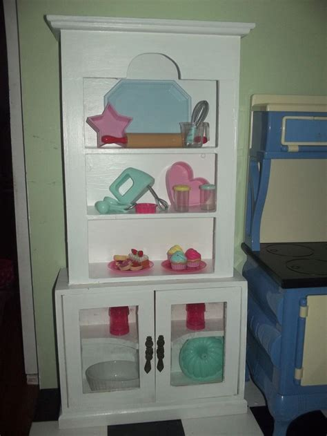 Kitchen hutch made from Hobby Lobby cabinet and a Goodwill