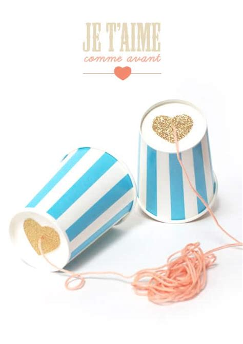 Paper Cup Telephone Craft - 20 creative s day tutorials burlap and blue