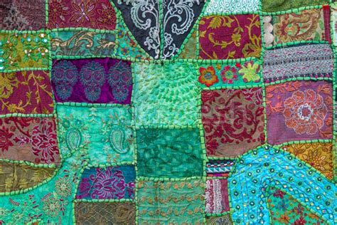Indian Patchwork - handmade patchwork quilt from india stock photo 169 harald