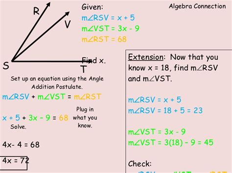 angle addition worksheet equation practice with angle angle addition postulate presentation