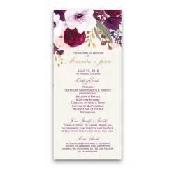 Purple Wedding Programs Floral Watercolor Flowers Purple Gold Wedding Program