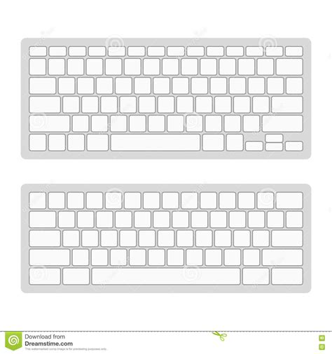 keyboard template computer keyboard blank template set vector stock vector