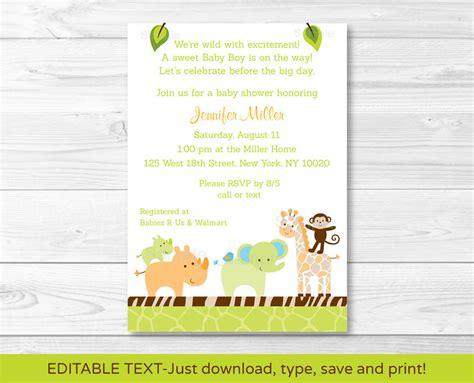 free printable animal invitations wildlife jungle animals baby girl printable baby shower