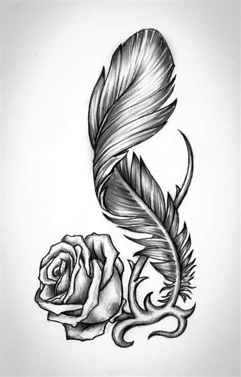 tattoo feather sketch rose by bobby79 on deviantart tattoo design pinterest