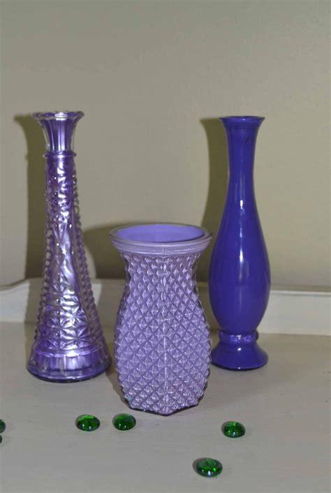 Purple Vase Decor Three Vintage Purple Glass Vases Wedding Decor By Vintageabcs