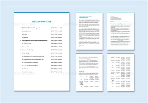layout of a survey report survey report template in word google docs apple pages