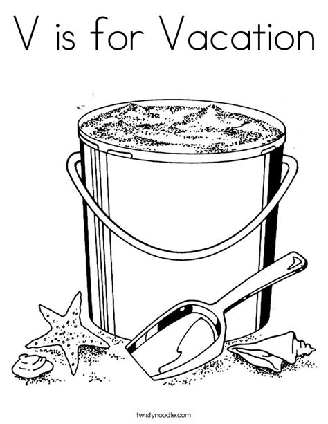 V Is For Vacation Coloring Page Twisty Noodle Vacation Coloring Pages