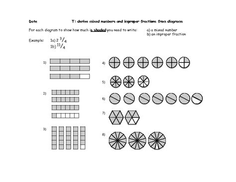 diagram and fractions mixed improper fractions worksheet derive mixed numbers