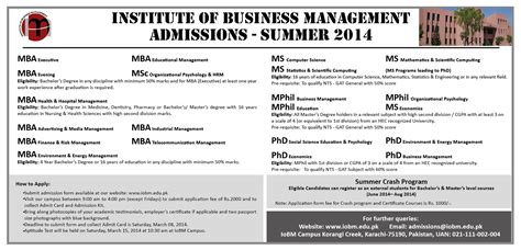 Aptitude Test For Mba In Iqra by Institute Of Business Management Karachi Admission 2014
