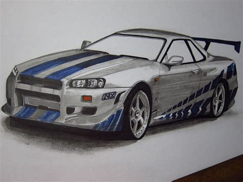 paul walkers nissan skyline drawing nissan skyline r34 gtr paul walker by v3110z on deviantart