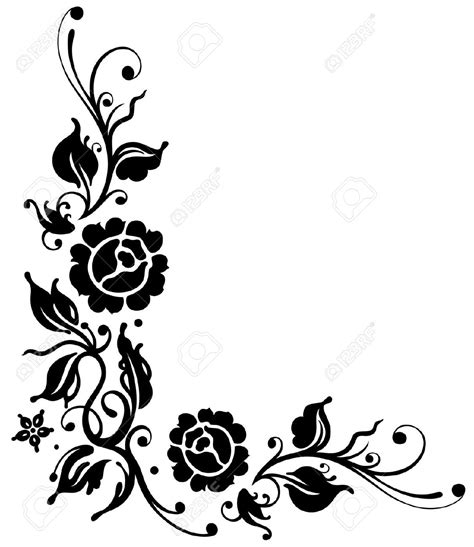 black and white floral pattern name leaf flourish clipart 56