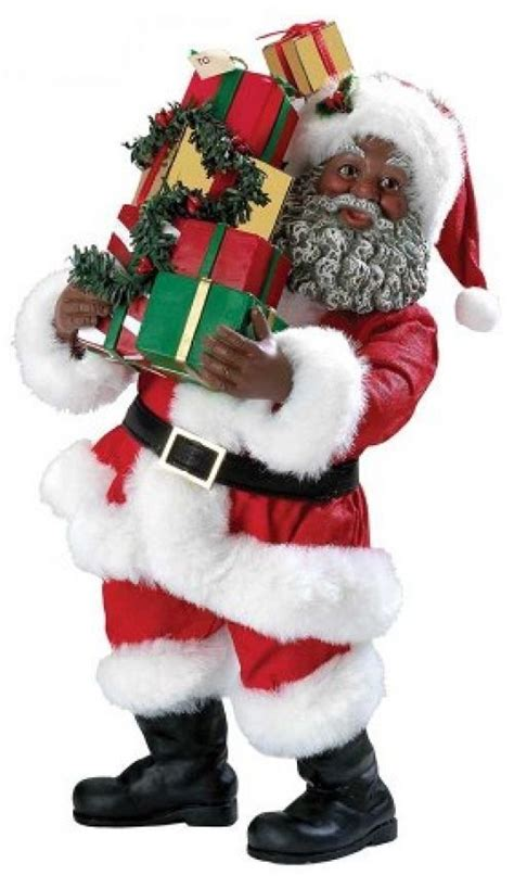 african american santa figurine with gift packages 10 inch