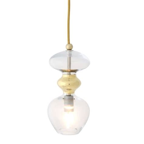 Small Clear And Gold Metallic Ceiling Light On Long Drop Small Glass Pendant Lights