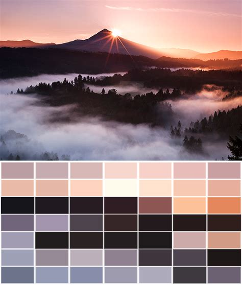 landscape orange pink colors brown palette peach