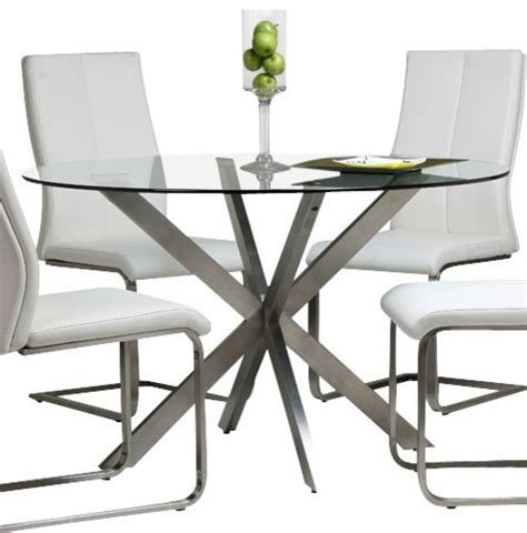 Pastel Eritrea 48 Quot Round Glass Dining Table With Stainless 48 Inch Glass Dining Table
