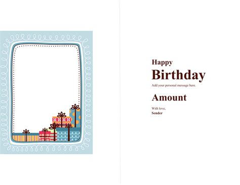 birthday card template word 2003 birthday gift card certificate free template