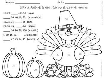 thanksgiving coloring page in spanish thanksgiving color by number pattern spanish english