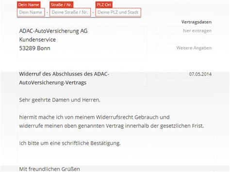 Kfz Versicherung K Ndigen Frist 2014 by Adac Widerruf Vorlage Download Chip