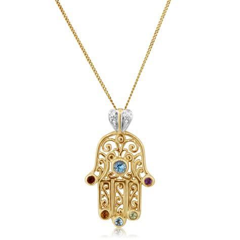 hama necklace hamsa 14k gold filigree pendant with diamonds gemstones