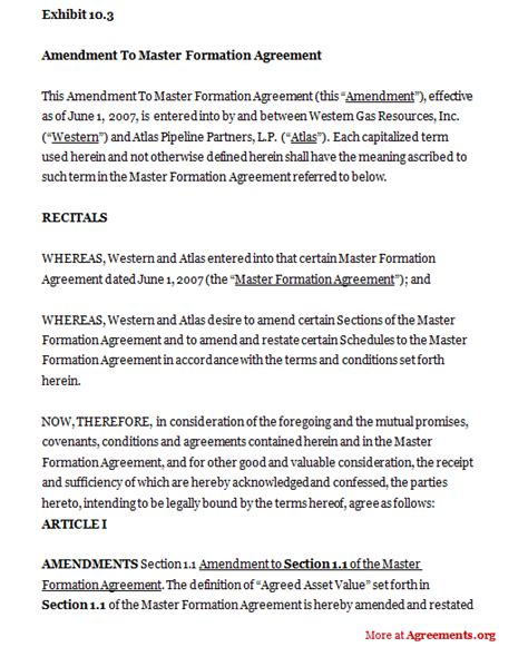 Letter Of Agreement Amendment amendment to master formation agreement sle amendment to master formation agreementagreements org
