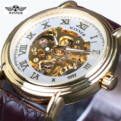 Winner Skeleton Leather Automatic Mechanical Watc Diskon winner skeleton automatic mechanical high grade