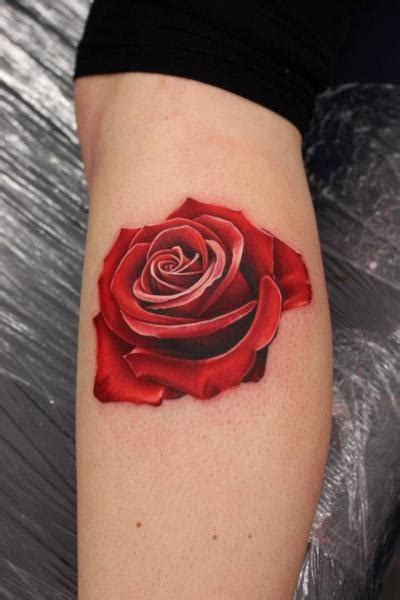 nemesis tattoo realistic calf flower by nemesis