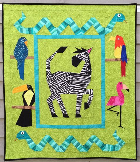 Safari Quilt Pattern by Paper Pieced Silly Safari Quilt Pattern In Pdf