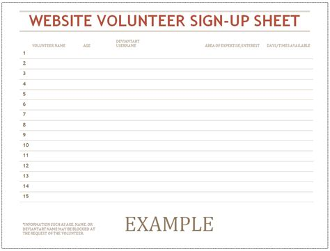 volunteer sign up sheet template volunteer sign up sheet by caitybee on deviantart