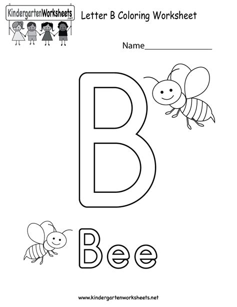 Letter Activity Letter B Coloring Worksheet Free Kindergarten Worksheet For