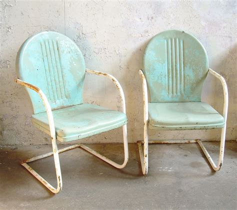 Retro Metal Lawn Chairs Pair Rustic Vintage Porch Furniture Vintage Patio Chairs