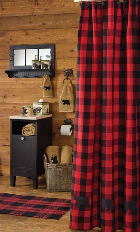 Kitchen Curtain Designs Buffalo Check Bear Applique Shower Curtain 72 Quot X 72 Quot