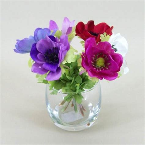 anemone vase silk flower arrangement av001