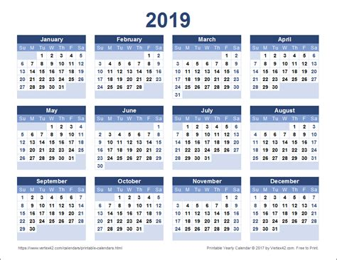 printable calendar for 2019 download a free printable 2019 yearly calendar from