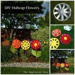 diy hubcap flower garden art do it yourself fun ideas