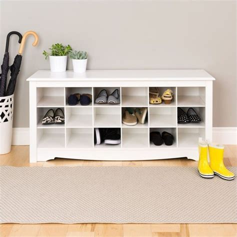 white shoe rack bench prepac white storage cubbie bench shoe rack ebay