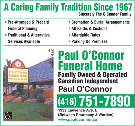 o connor paul funeral home ltd scarborough on 1939